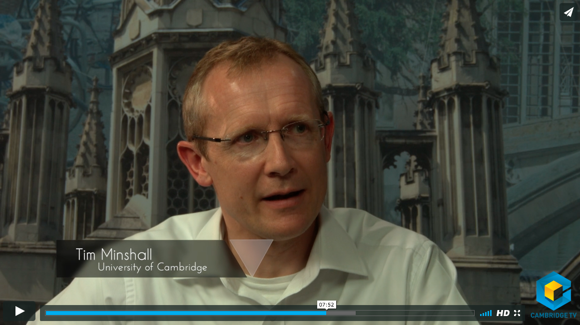 Dr Tim Minshall being interviewed on Cambridge TV