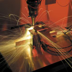 High brightness solid state fibre laser cutting