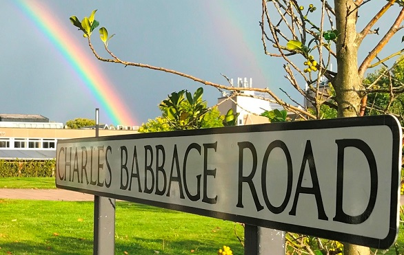 Charles Babbage Road sign